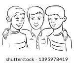 three friends together   doodle ... | Shutterstock . vector #1395978419