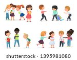 problem of kids bullying at... | Shutterstock .eps vector #1395981080