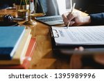 close up lawyer write or read... | Shutterstock . vector #1395989996
