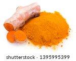 turmeric isolated on white... | Shutterstock . vector #1395995399