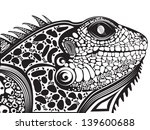 abstract,art,artistic,big lizard,black and white,carnival,creative,creature,dangerous,design,element,eyes,fantasy,geometrical shapes,graphic