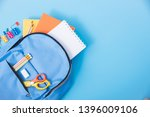 top view flat lay of student... | Shutterstock . vector #1396009106