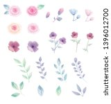 flower and leaves watercolor... | Shutterstock .eps vector #1396012700