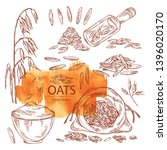 collection of oats  plate and... | Shutterstock .eps vector #1396020170