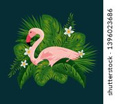 flamish with tropical flowers... | Shutterstock .eps vector #1396023686