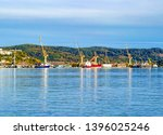 crane in seaport in avacha bay... | Shutterstock . vector #1396025246