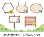 wooden signboard of summer... | Shutterstock .eps vector #1396027706