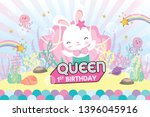 party backdrop with cute bunny... | Shutterstock .eps vector #1396045916