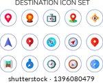 destination icon set. 15 flat... | Shutterstock .eps vector #1396080479