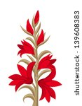 Red Gladiolus Flowers. Vector...