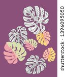 vector tropical pattern with... | Shutterstock .eps vector #1396095050