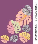 vector tropical pattern with... | Shutterstock .eps vector #1396095053