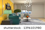 interior of the living room. 3d ... | Shutterstock . vector #1396101980
