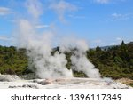 Pohutu Geyser in Te Puia National Park, Rotorua, New Zealand. It is the largest active geyser in the southern hemisphere