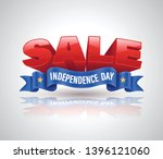 sale 3d text with blue ribbon... | Shutterstock .eps vector #1396121060