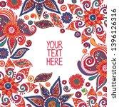 paisley. square frame. border.... | Shutterstock .eps vector #1396126316