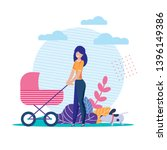 young lonely mother carries... | Shutterstock .eps vector #1396149386