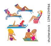 people sunbathing at summer...   Shutterstock .eps vector #1396154966