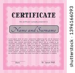 pink diploma template or... | Shutterstock .eps vector #1396166093