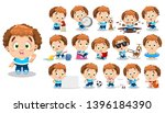 curly redheaded boy in blue t... | Shutterstock .eps vector #1396184390