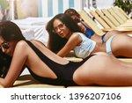 we love tanning  women relaxing ...   Shutterstock . vector #1396207106