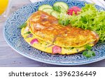 breakfast. omelette with radish ... | Shutterstock . vector #1396236449