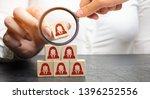 businesswoman puts wooden... | Shutterstock . vector #1396252556