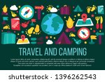 travel and camping banner with... | Shutterstock .eps vector #1396262543