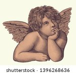angel from the fresco by rafael ... | Shutterstock .eps vector #1396268636