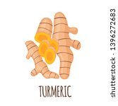 turmeric root icon in flat...   Shutterstock .eps vector #1396272683