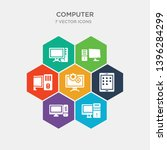 simple set of pc computer with... | Shutterstock .eps vector #1396284299