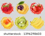 set of fruit juice splash.... | Shutterstock .eps vector #1396298603