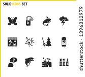 eco icons set with eco tote bag ...
