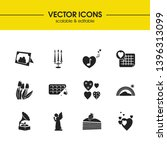 valentine icons set with love...