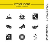 melody icons set with earphone  ...