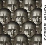 rows of metallic robot androids ... | Shutterstock . vector #139632929