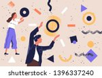 pair of people collecting and... | Shutterstock .eps vector #1396337240
