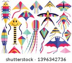 flat flying wind kites set with ... | Shutterstock .eps vector #1396342736