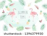 summer watercolor background...   Shutterstock .eps vector #1396379930