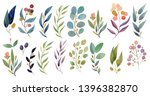 watercolor leaves and brunches... | Shutterstock . vector #1396382870