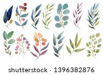watercolor leaves and brunches... | Shutterstock . vector #1396382876