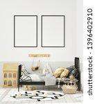 mock up poster frame in... | Shutterstock . vector #1396402910