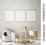 mock up poster frame in... | Shutterstock . vector #1396402913