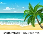 exotic tropical  landscape with ... | Shutterstock .eps vector #1396434746
