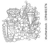 juice  berries  cherries hand... | Shutterstock .eps vector #1396481576