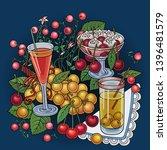juice  berries  cherries hand... | Shutterstock .eps vector #1396481579