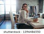 caucasian online seller... | Shutterstock . vector #1396486550
