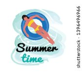 summer time  woman in yellow...   Shutterstock .eps vector #1396496966