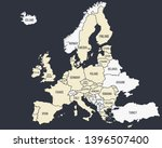 europe vintage poster map. map... | Shutterstock .eps vector #1396507400