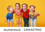 group of cheerful happy... | Shutterstock . vector #1396507940